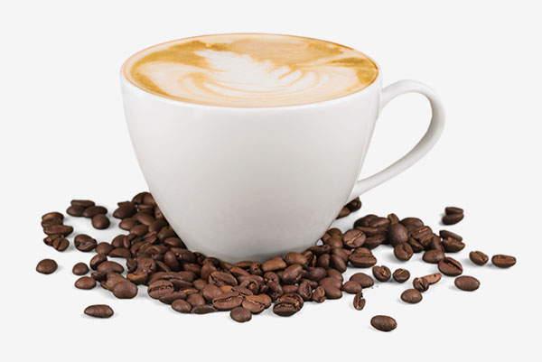 Hot latte with coffee beans
