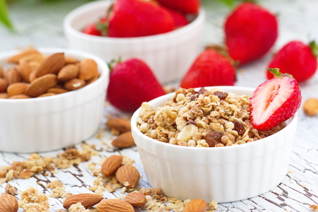 Oat granola with almond, chocolate and fresh strawberry from Biloxi micro-market break room