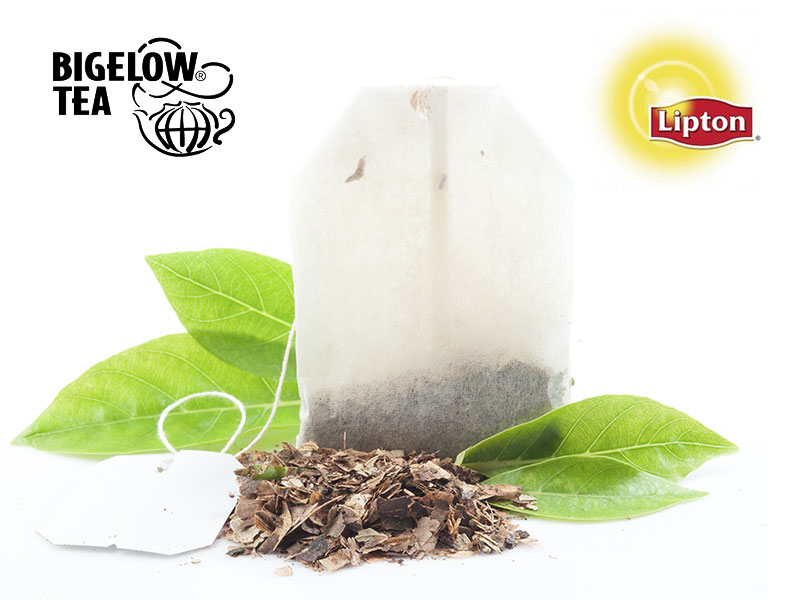 Tea bag with leaves and dried tea for Bigelow Tea and Lipton Tea